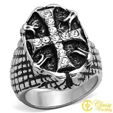 - Classy Not Trashy® Size 11 Cubic Zirconia Pave Novelty Cross Snake Skin Style Band Ring