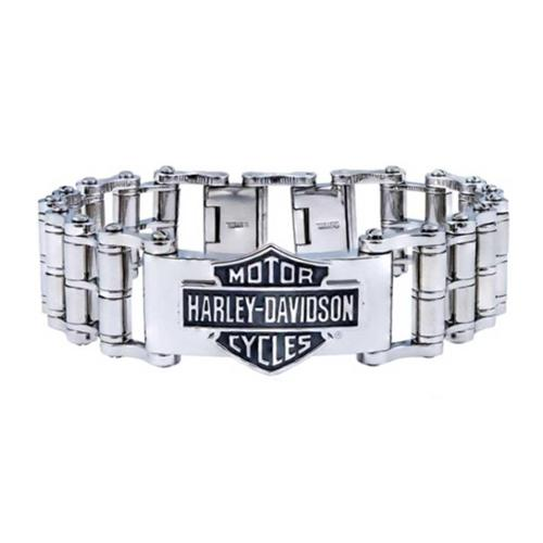 Harley-Davidson Men's Bar & Shield Emblem Bike Chain Steel Bracelet HSB0146, Harley Davidson