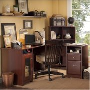 """Pemberly Row 60"""" L-Shaped Computer Desk in Harvest Cherry"""