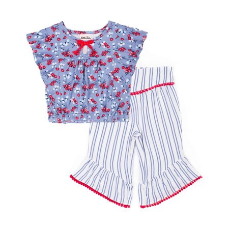Short Sleeve Yummy Printed Top & Printed Challis Culottes, 2pc Outfit Set (Baby Girls & Toddler - Printed Culottes