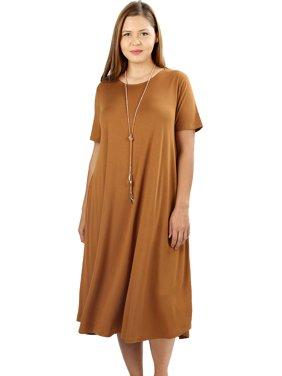 5eff0441a1f Product Image JED FASHION Women s Plus Size Soft Fabric Knee Length T-Shirt  Dress