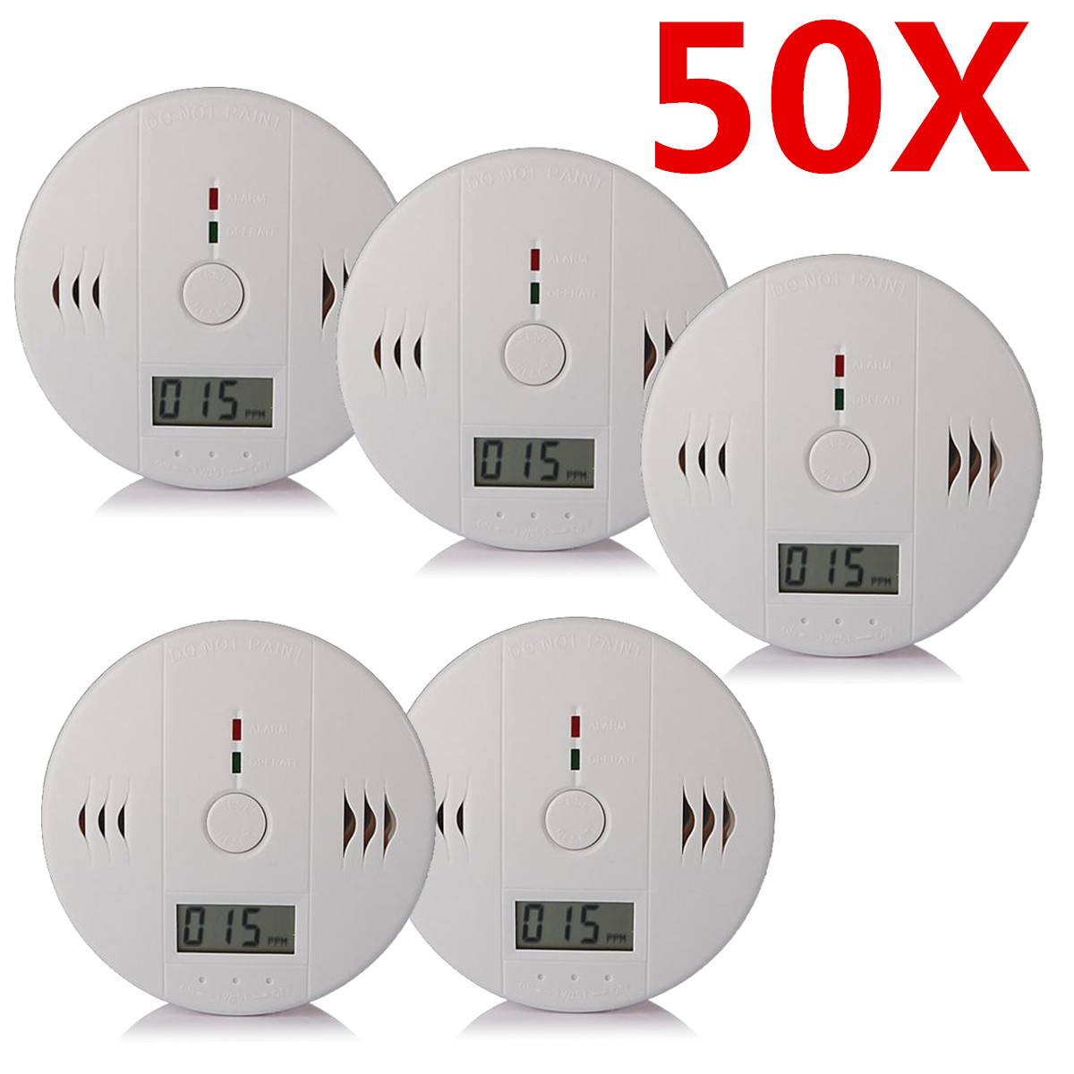 1-50 Pcs Battery Powerd LCD CO Carbon Monoxide Alarm Fire Sensor Detector Sound & LED Flash Alarm Combo Detector Tester Monitor with Digital Display Home Safety