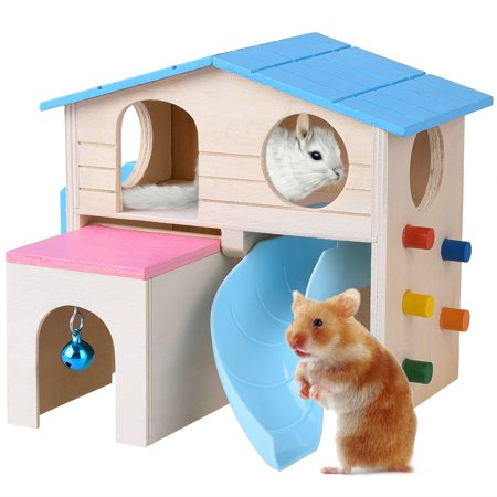 Petacc Hamster House Wooden Pet Cabin Small Animal Hideout Deluxe Hamsters Villa Creative Two-layer Hut for Small Animals, Equipped with Slide, Drawer-style Hut, Hanging Bell, Ladder and Climbing Wall