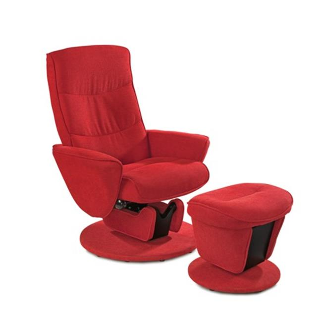 Mac Motion Relax-r Tomato Fabric Swivel Glider Recliner With Ottoman, Red & Upholstered