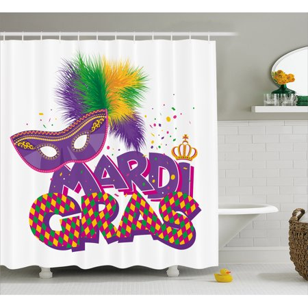 Mardi Gras Shower Curtain Traditional Holiday Theme Colorful Fluffy Feathers Mask Crown Symbol Fabric