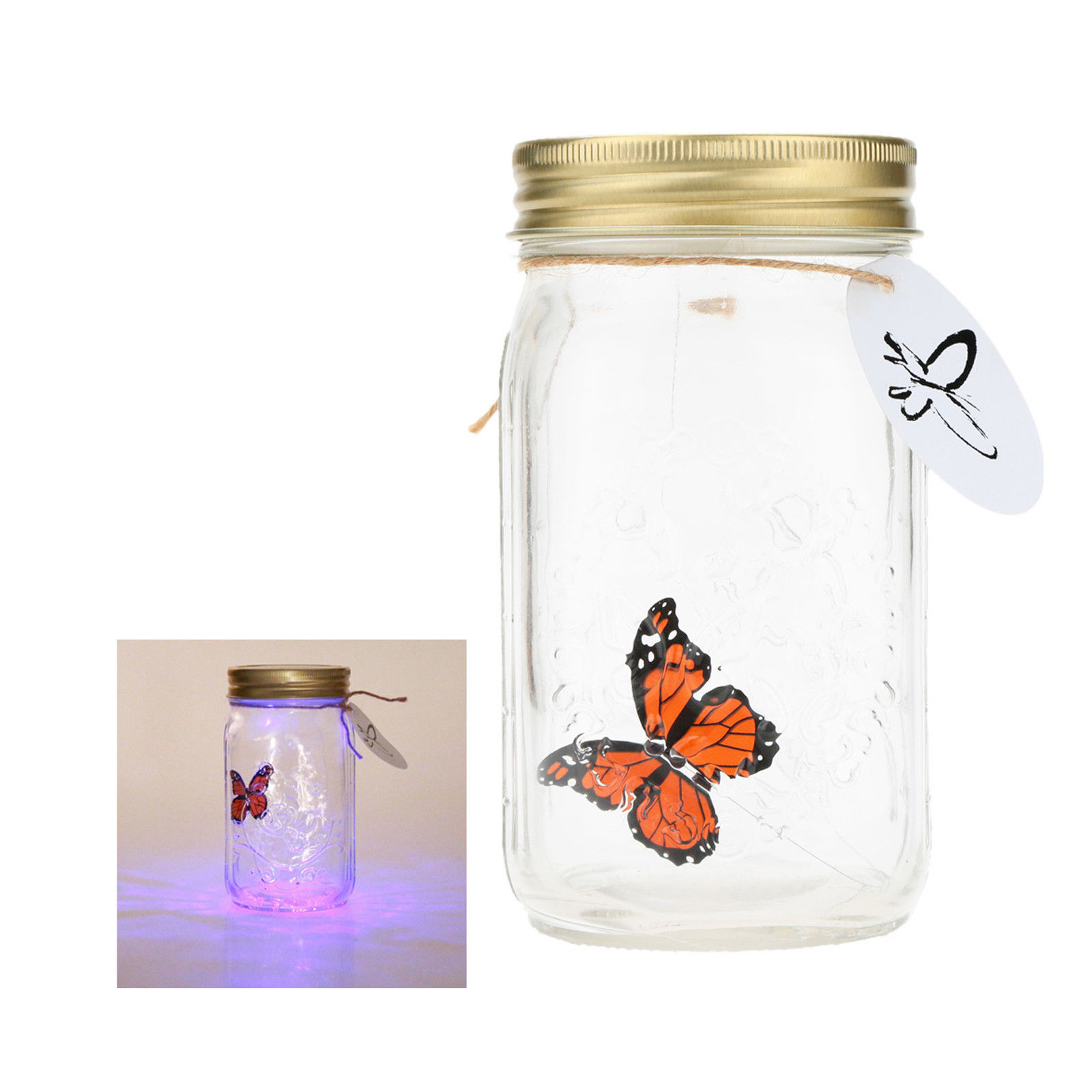 LED Flying Butterfly Bottle Glass Jar Night Light Romantic Gifts