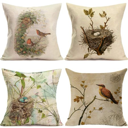 Popeven Throw Pillow Covers Vintage Bird's Nest Decorative Pillow Covers Cotton Linen Square Home Decor Throw Pillow Case Cushion Cover 18