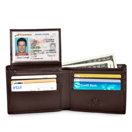 Vbiger RFID Wallet for Women and Men - Secure Bifold Card Holder Protector Leather Purse, Blocking Security