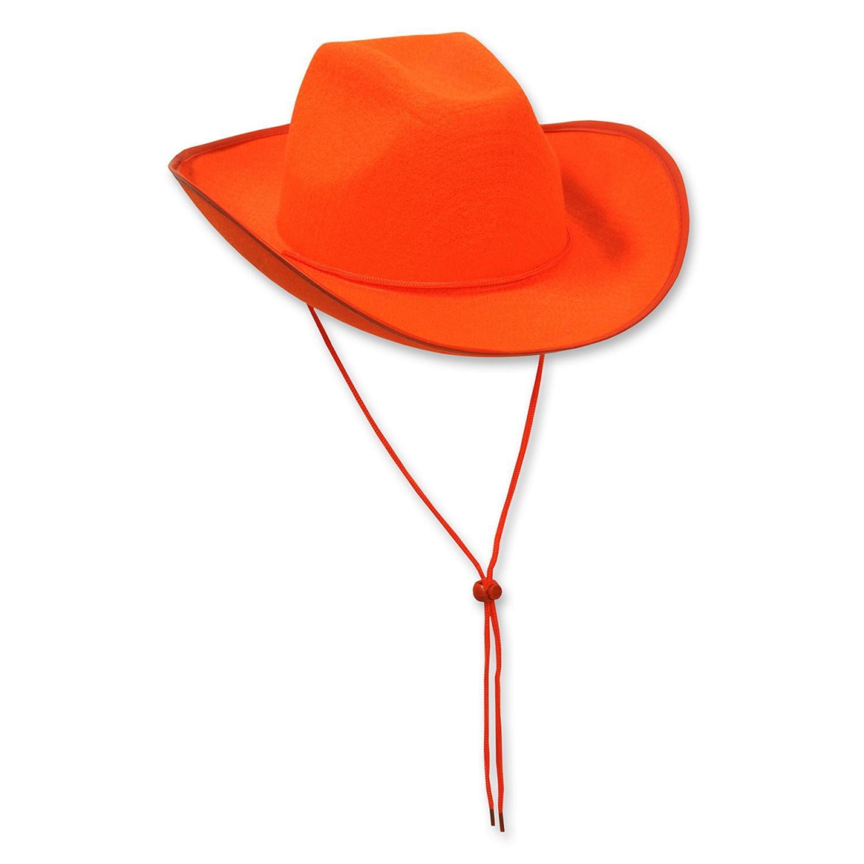 Pack of 6 Western Themed Orange Felt Cowboy Hat Costume Accessories -  Walmart.com e19d11dd665
