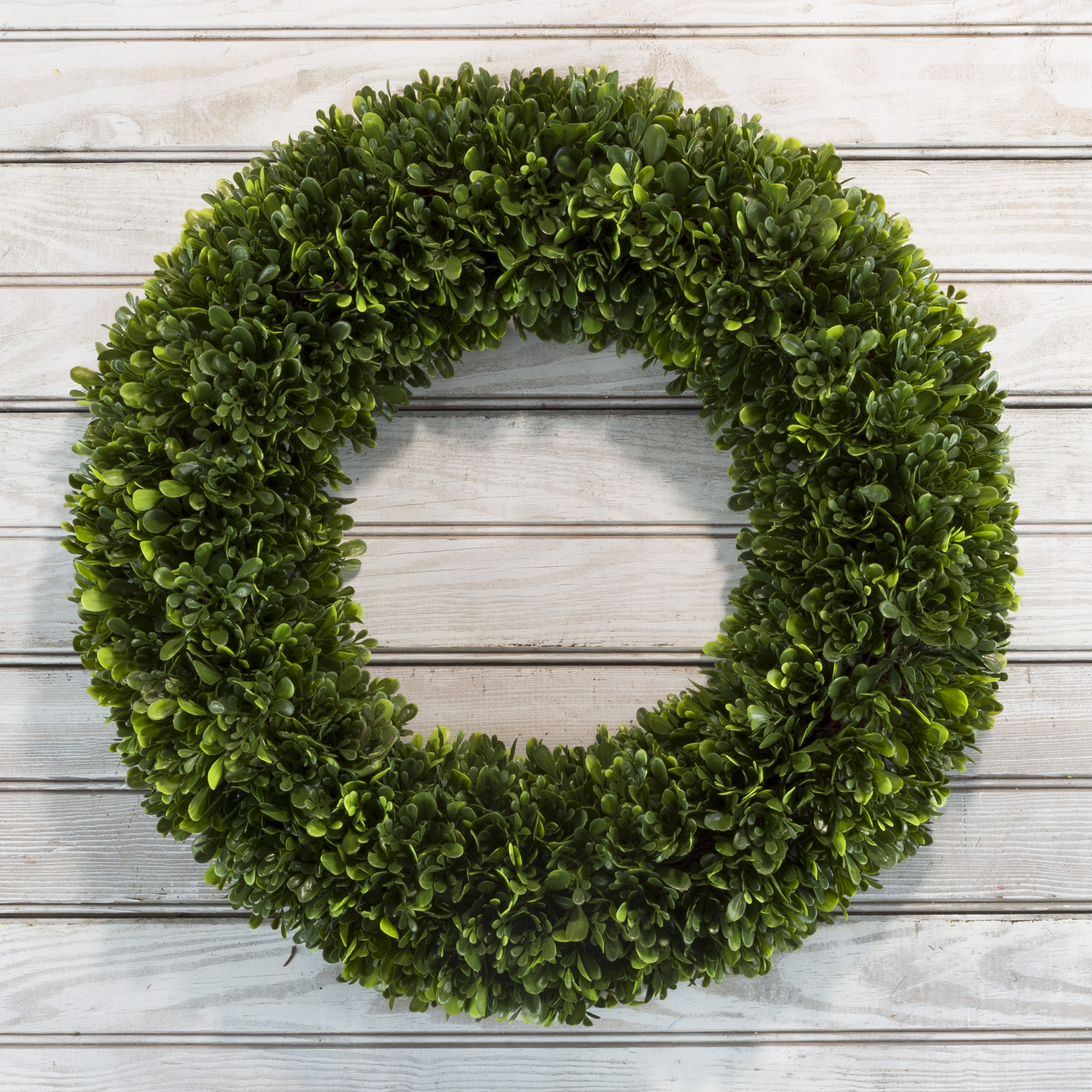 Artificial Tea Leaf Wreath with Grapevine Base- UV Resistant Greenery Half Wreath with Slim Profile for Front Door, Wall Decor by Pure Garden 19.5""