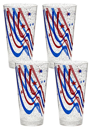 Acrylic BPA Free Patriotic Glittered Stars and Stripes Tumblers, Set of 4 by Nantucket Distributing