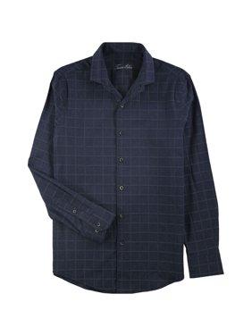 Tasso Elba Mens Windowpane Button Up Dress Shirt