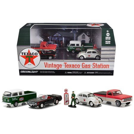 Motor World Diorama Texaco Vintage Gas Station 6pcs Set 1/64 Diecast Model Cars by - Model Car Diorama