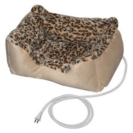 ALEKO Soft Warm Heated Pet Bed, Indoor Thermo-Pad Crate Padded Bed For Dogs and Cats, Leopard Print, 20