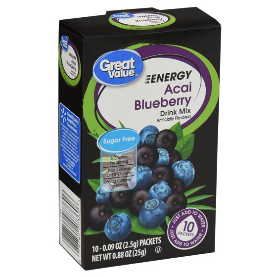 Great Value Sugar-Free Energy Acai Blueberry Drink Mix, 0 88 Oz , 10 Count
