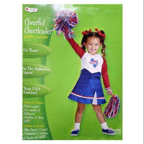 Disguise Toddler-Girls 'Cheerful Cheerleader' Halloween Costume, White/Blue, 2T