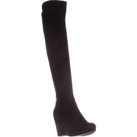 Womens Chinese Laundry Lavish Knee-High Wedge Boots, Black