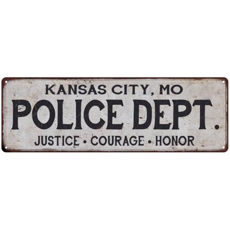KANSAS CITY, MO POLICE DEPT. Home Decor Metal Sign Gift 6x18 106180012027 - Halloween Kansas City
