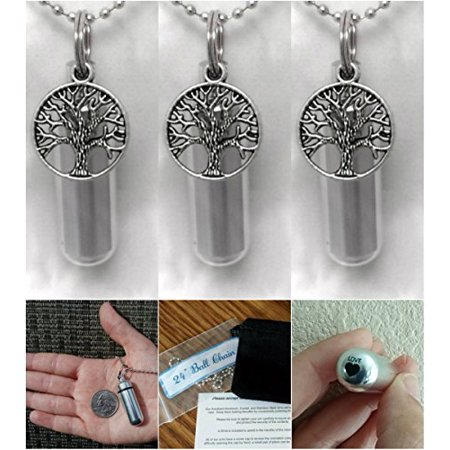 - THREE (3) Beautiful TREE-OF-LIFE Anointing Oil Holder/Keepsakes with Laser Engraved Hearts - Includes Velvet Pouches & Ball-Chains