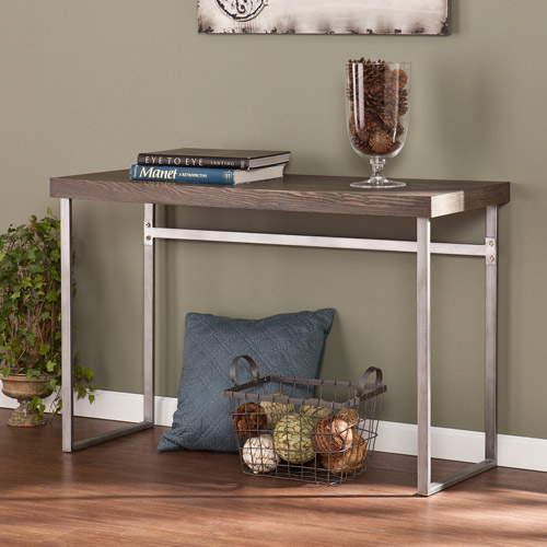Southern Enterprises Whelan Console Table, Midcentury-Modern, Burnt Oak
