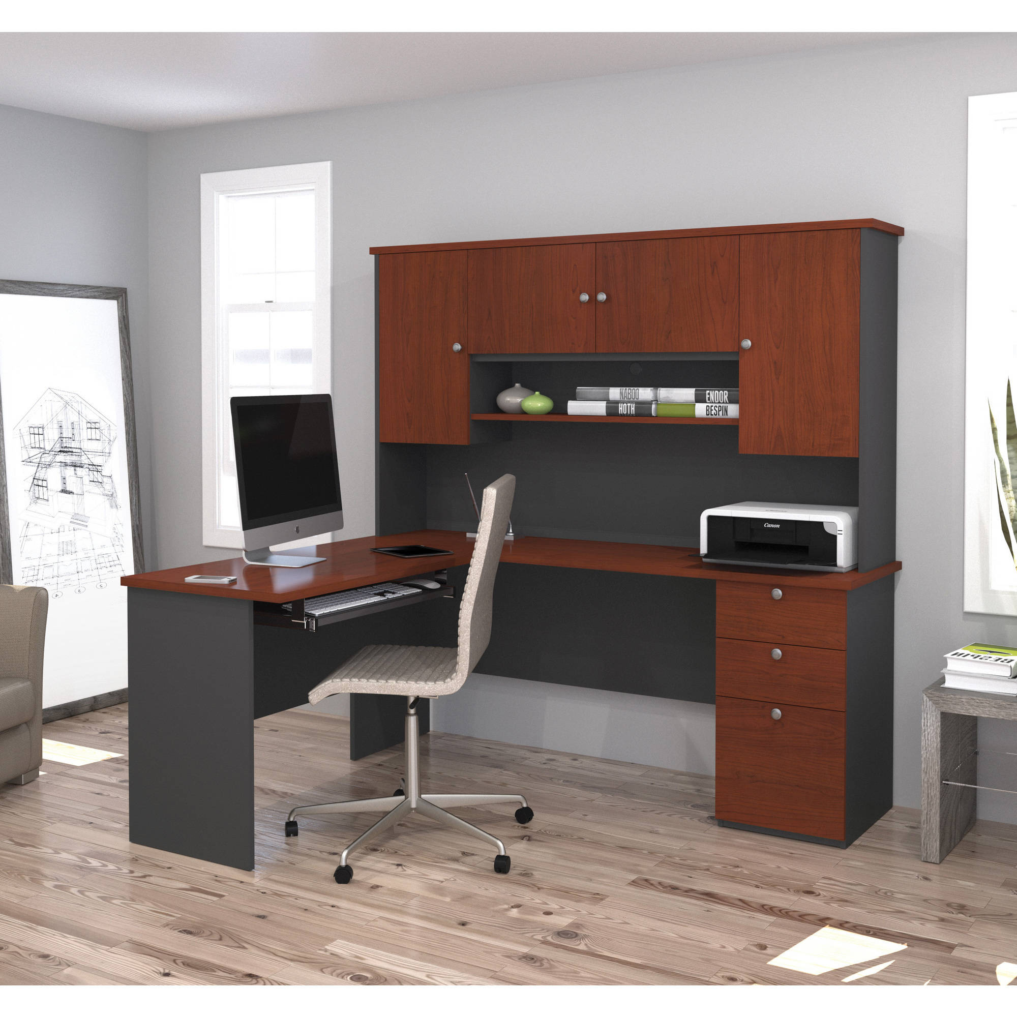 Bestar Manhattan L-shaped Workstation, Bordeaux & Graphite