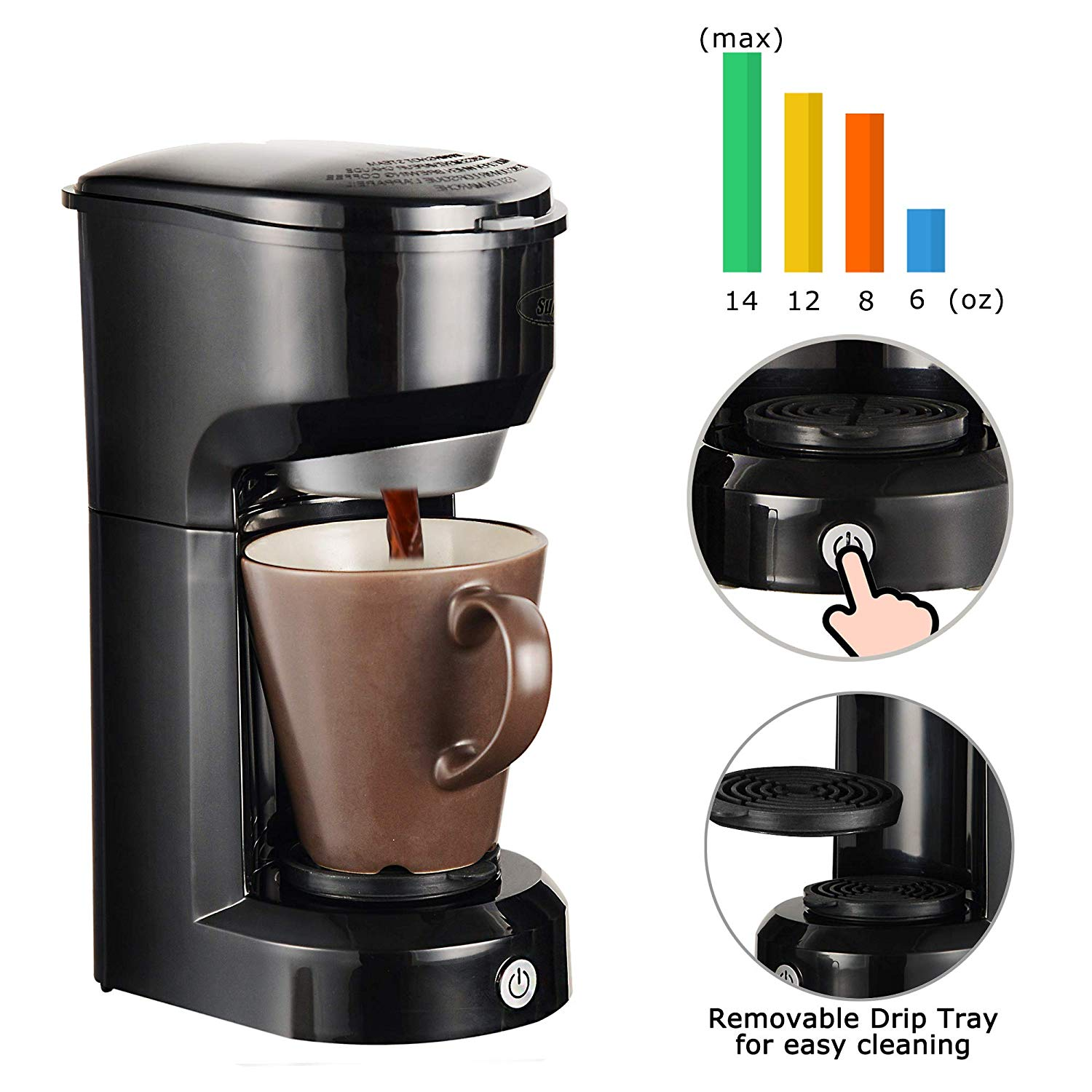 Single Serve Coffee Maker Brewer for Single Cup, K-Cup Coffeemaker With Permanent Filter, 6oz to 14oz Mug, One-touch Control Button with Illumination, Black