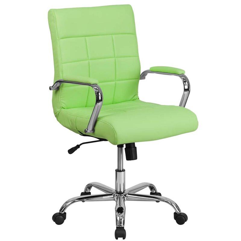 Scranton & Co Mid Back Faux Leather Swivel Office Chair in Green