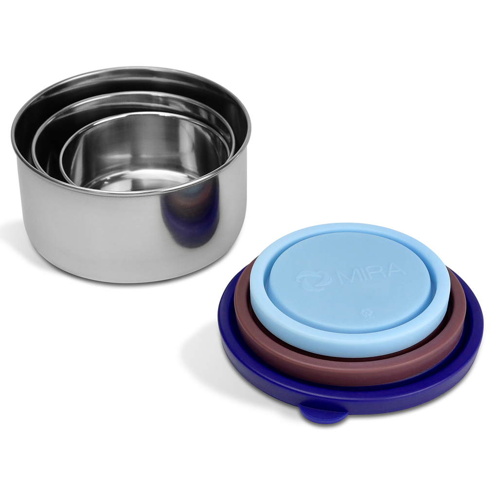 MIRA Stainless Steel 3 Container Set lunch box snack box (Blue/Brown)