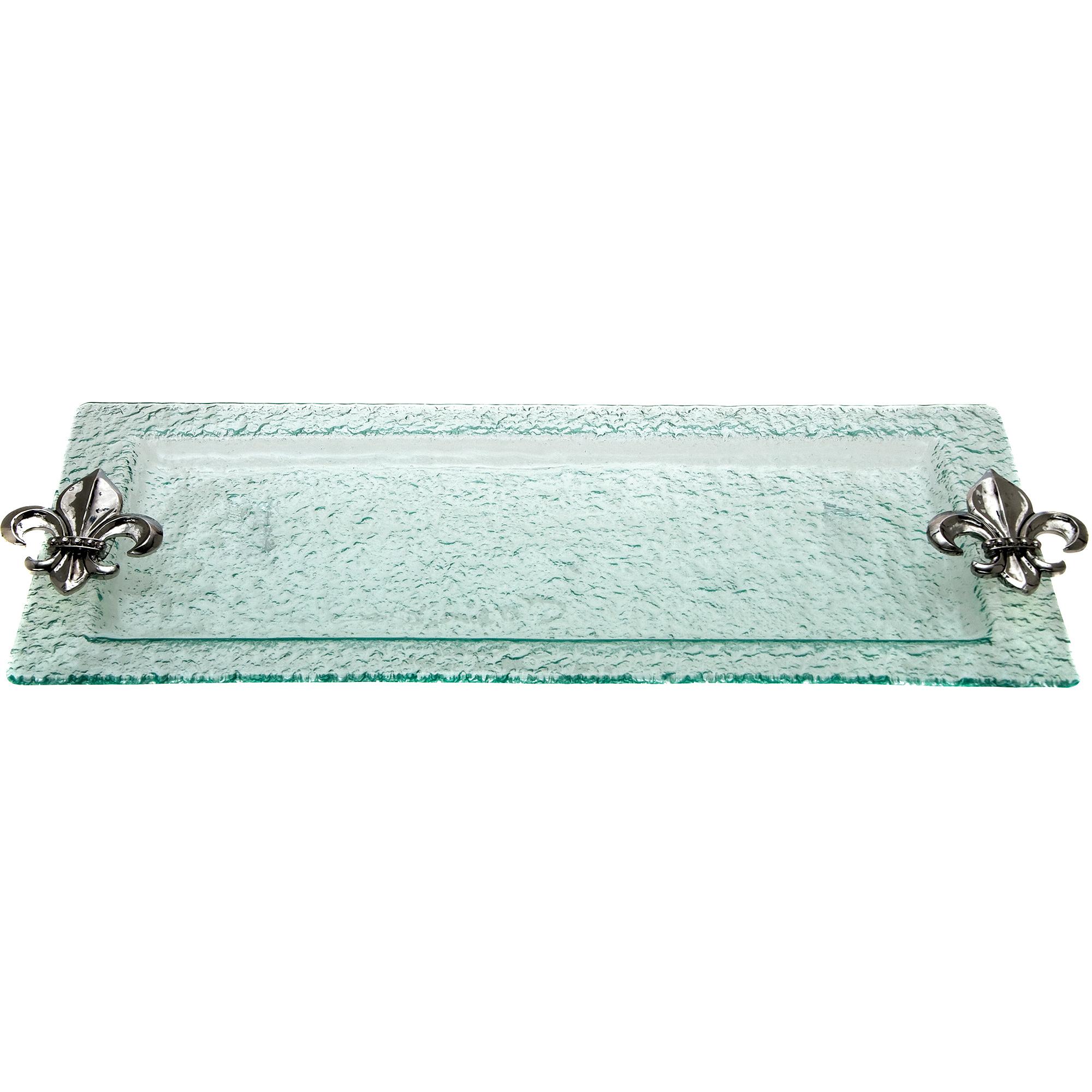 Thirstystone Glass Rectangular Tray, Fleur de Lis