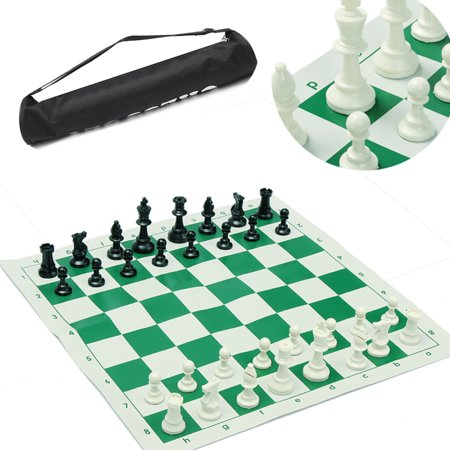 School Club & Tournament Chess Set Portable Brand New Pieces with Roll Board & Bag Chess Kit For Travelling Home School