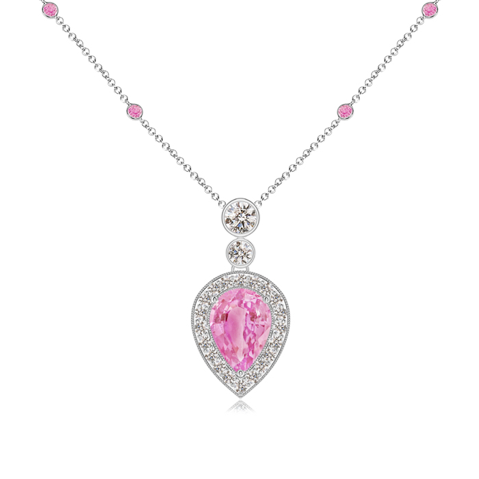 September Birthstone Pendant Necklaces Pear Pink Sapphire Necklace Pendant with Diamond Halo in 950 Platinum (7x5mm Pink... by Angara.com