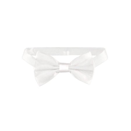100% SILK BOWTIE Solid WHITE Color Men's Bow Tie for Tuxedo or Suit - White Bowtie