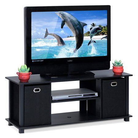 Furinno Econ Entertainment Center with Storage Bins, Multiple -