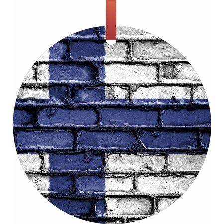 Finland Ribbons - Finland Brick Wall Print Flag Hanging Round Shaped Tree Ornament - (Flat) - Holiday Christmas - Tm - Made in the USA
