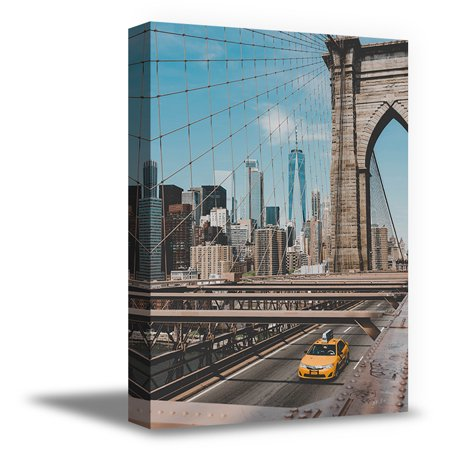 Awkward Styles Brooklyn Bridge Framed Picture New York Canvas Decor NY Wall Art American Style Skyscrapers in NYC Brooklyn Bridge Canvas Art Brooklyn Bridge Printed Photo Ready to Hang Made in USA (Ny Brooklyn Bridge)