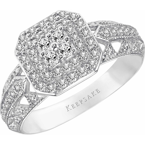 Keepsake Calista 3/8 Carat T.W. Princess Diamond 10kt White Gold Engagement Ring