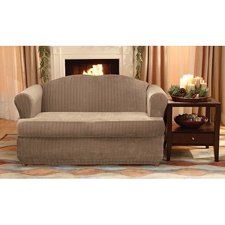 Sure fit stretch pinstripe 2 piece t cushion loveseat for Patio cushion slipcovers walmart