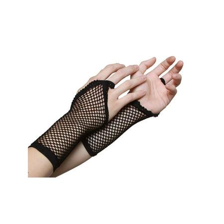 Black Fishnet Fingerless Gloves - image 1 of 2