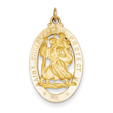 God Medal Pendant (14k Yellow Gold Saint Christopher Medal)