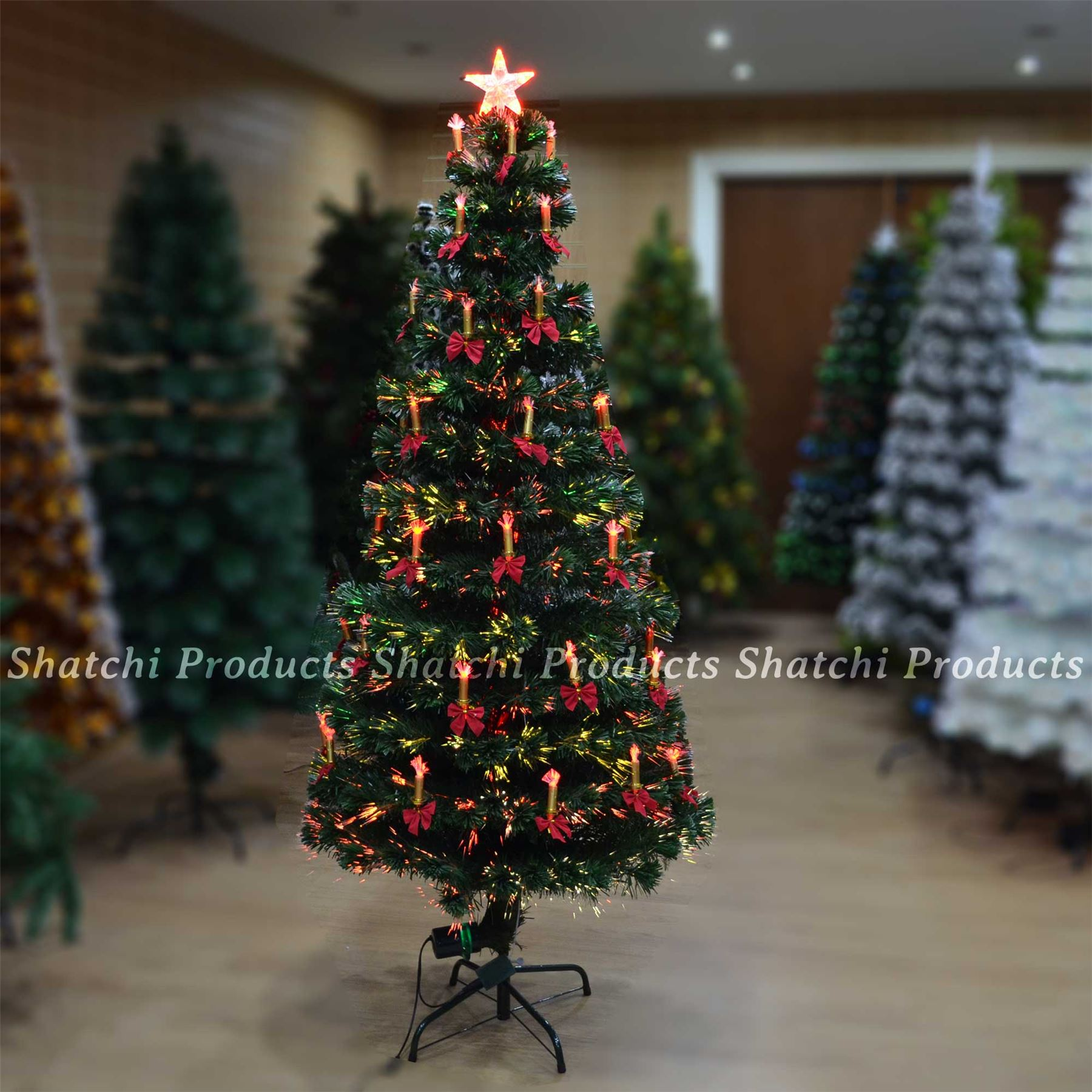 5ft Led Fibre Optic Christmas Tree Pre Lit Xmas Decoration With Candle Bow