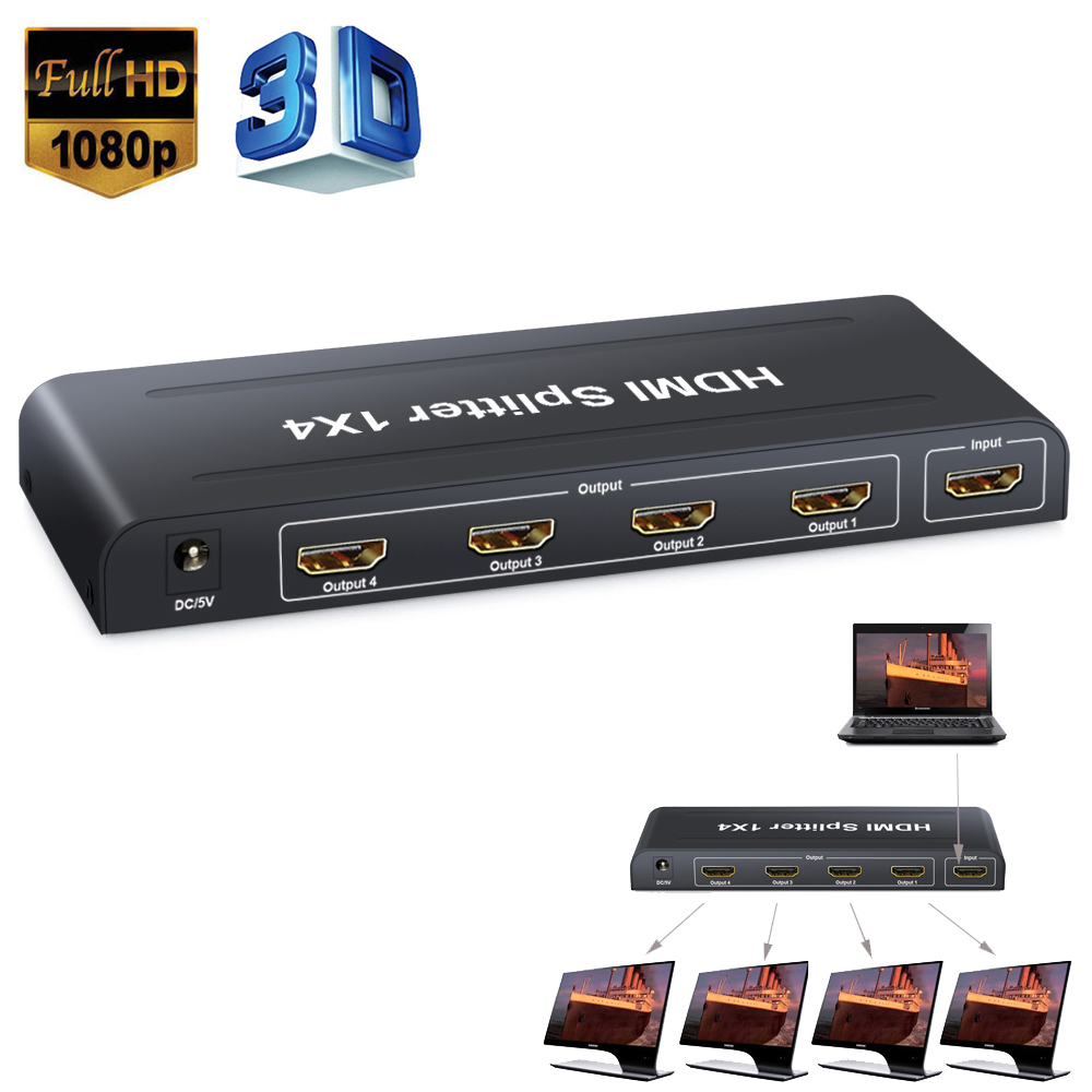 ESYNIC 1X4 4 Way HDMI Splitter Hub 1 Input 4 Output 4 Port HDMI Signal Distributor Adapter Box 3D HD 1080P HDMI Video Splitter with USB Power Cable for HDTV PC Projector Laptop SKY Box PS3 PS4