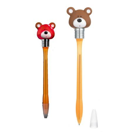 Light Up Teddy Bear Head Orange Colored Pen - By Ganz