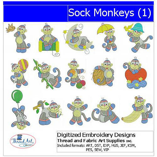 Threadart Machine Embroidery Designs Sock Monkeys(1) CD