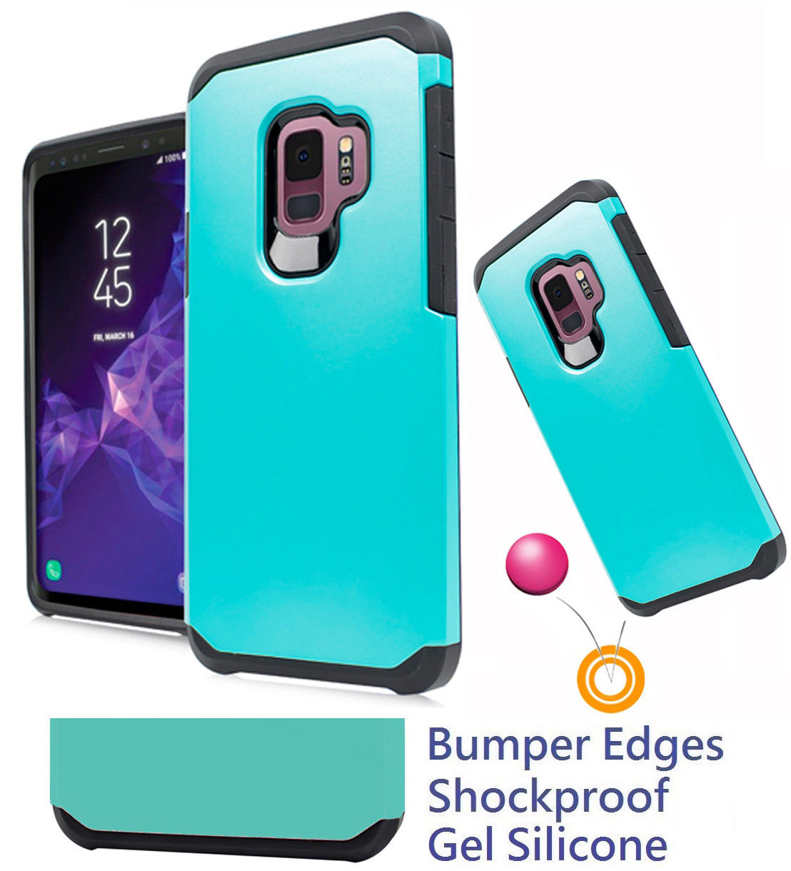 "for 5.8"" Samsung S9 Galaxy S 9 G960 Case Phone Case Shock proof Edges Hybrid Layers Slim Bumper Scratch Shield Cover Emblem Neon"