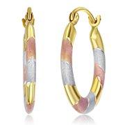 Wellingsale Ladies 14k Tri 3 Color Gold Polished Satin 3mm Hoop Earrings (20mm Diameter)