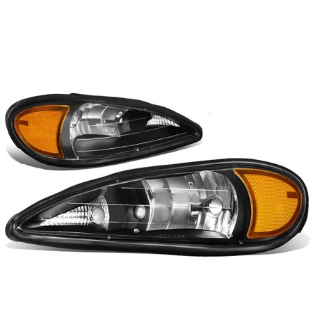 For 1999 to 2005 Pontiac Grand Am Pair OE Style Headlight Black Housing Amber Side Headlamps 00 01 02 03 04 (Pontiac Grand Am For Sale By Owner)