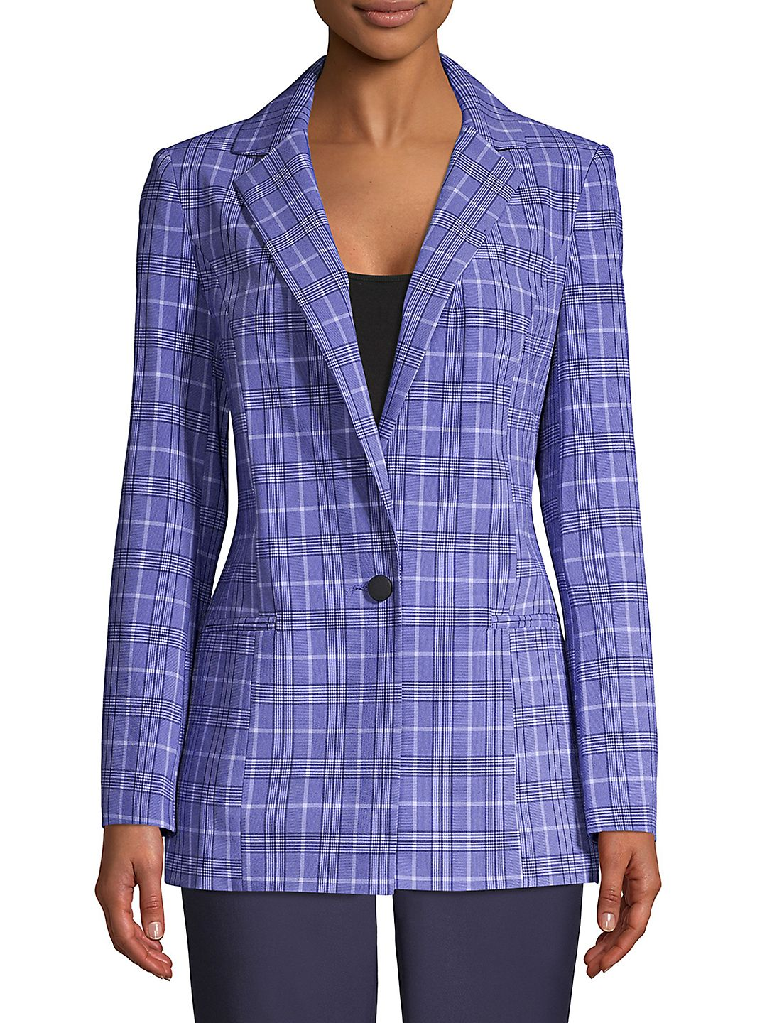 Plaid-Print Notch Lapel Blazer