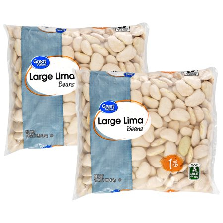 (2 Pack) Great Value Large Lima Beans, 16 oz