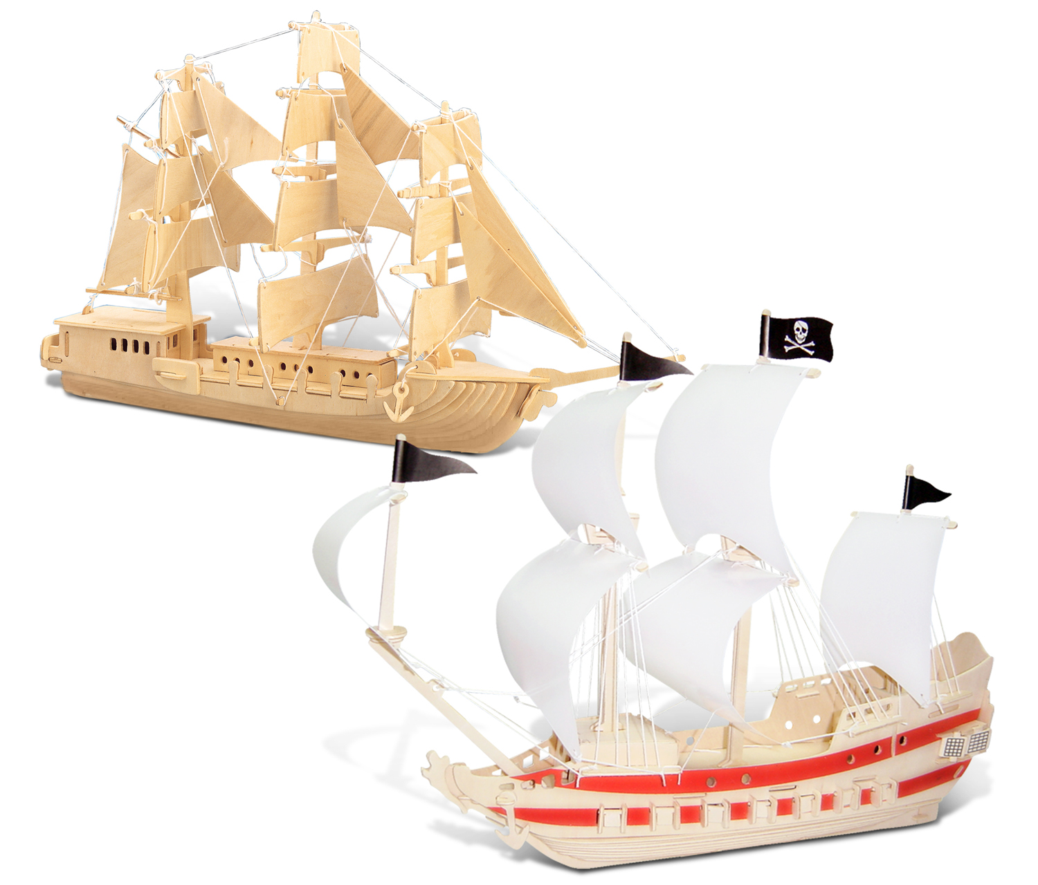 Puzzled European Sailing Boat and Pirate Ship Wooden 3D Puzzle Construction Kit by Puzzled Inc