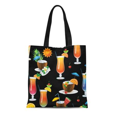 LADDKE Canvas Tote Bag Hawaiian Tropical Cocktail Drinks Summer Beach House Hibiscus Cute Reusable Handbag Shoulder Grocery Shopping Bags - Hibiscus Cocktail